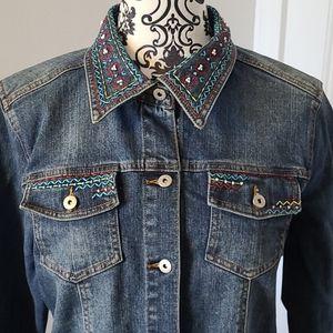 Susan Bristol vintage jean jacket boho embroidered